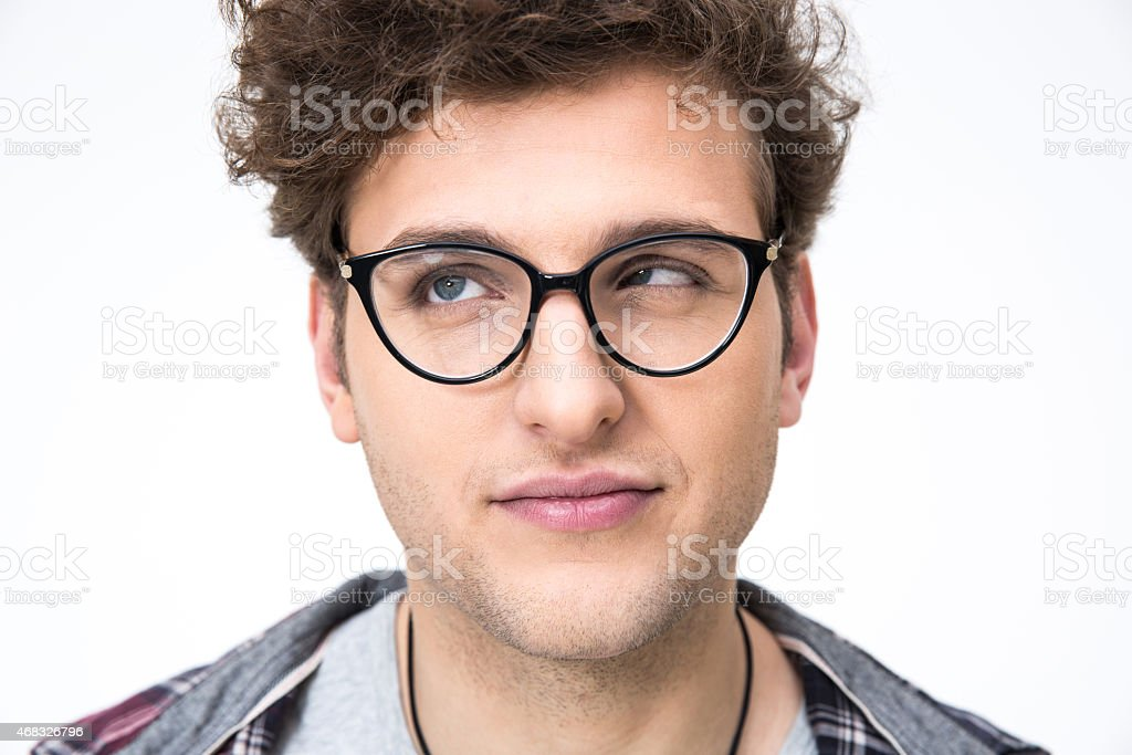 portrait of a funny man with curly hair stock photo