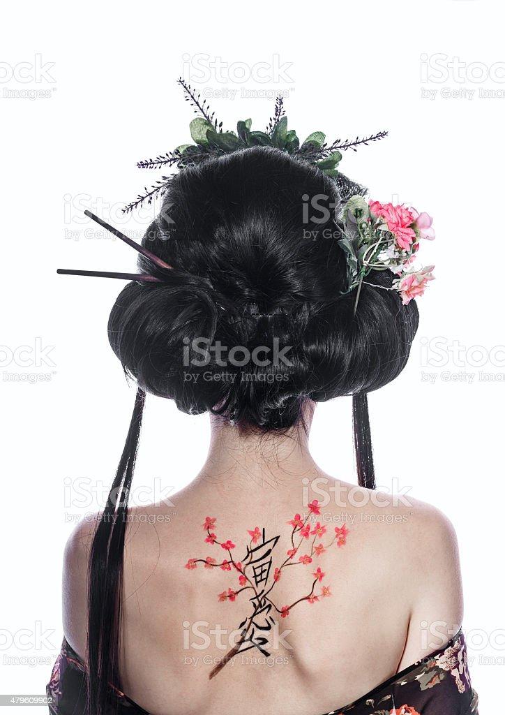 Geisha De Dos portrait dune geisha du dos patinage merisier et hieroglyph – photos