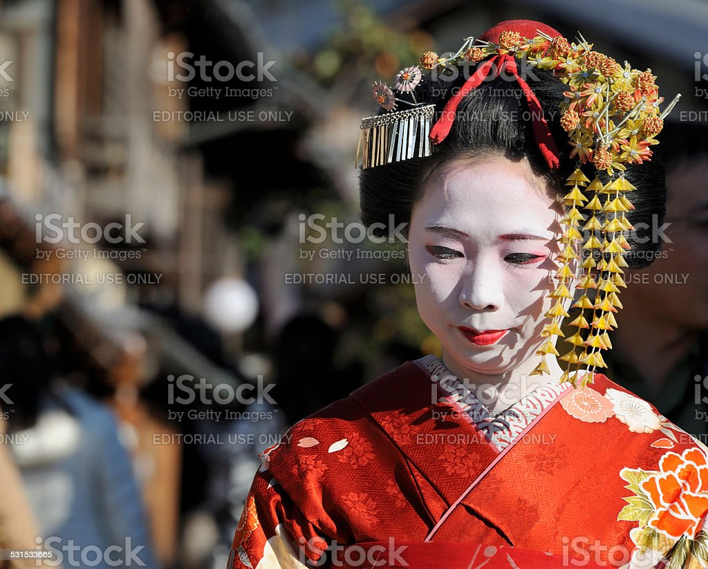 Portrait of a geisha stock photo