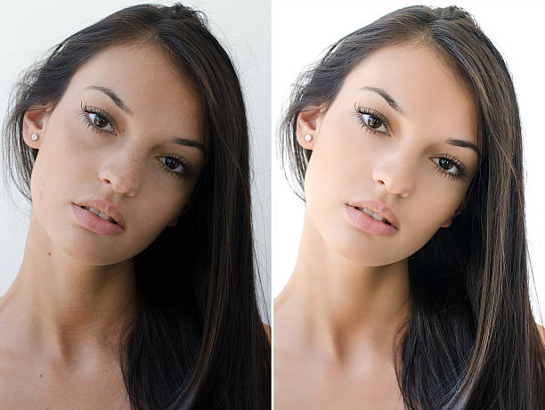 Portrait of a girl before and after retouching with photoshop. stock photo
