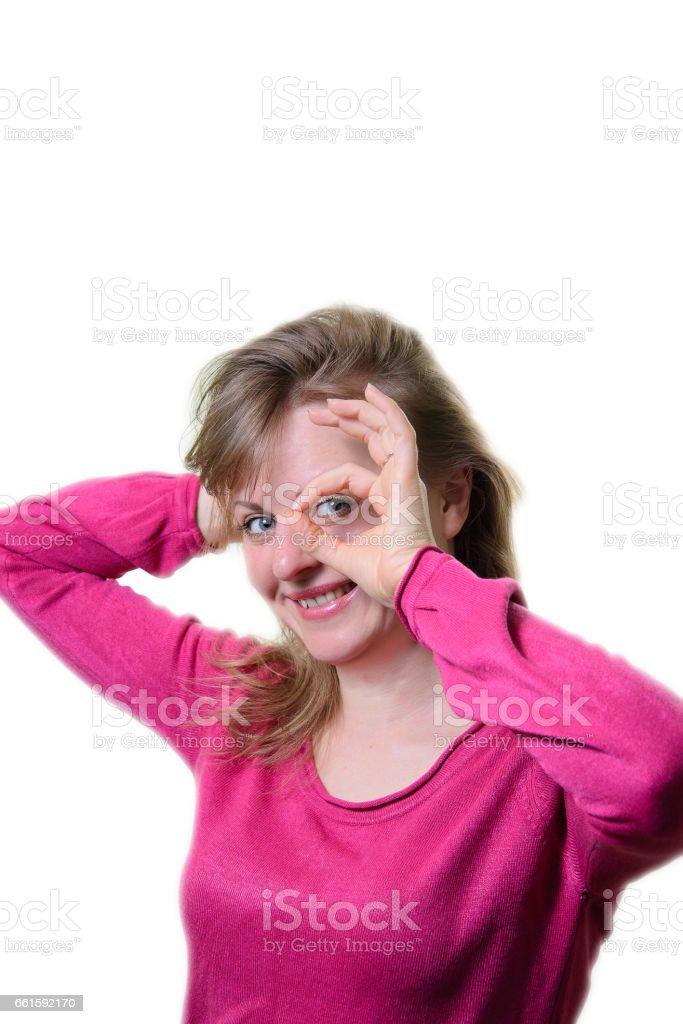 Portrait of a girl cheerful. Okay. stock photo