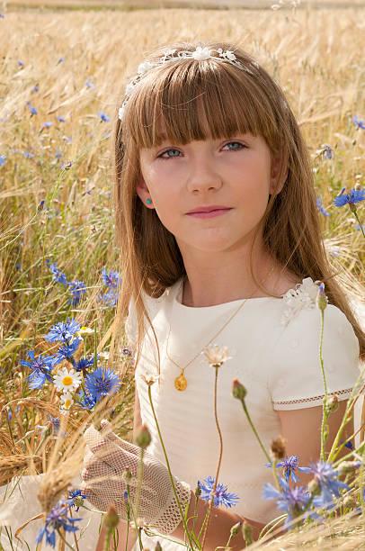 인물 사진 여자아이 성찬식 스톡 사진
