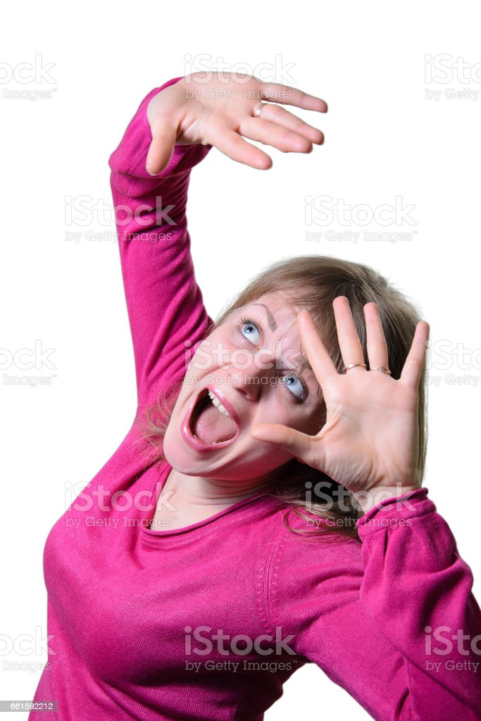 Portrait of a girl emotion of fear. stock photo