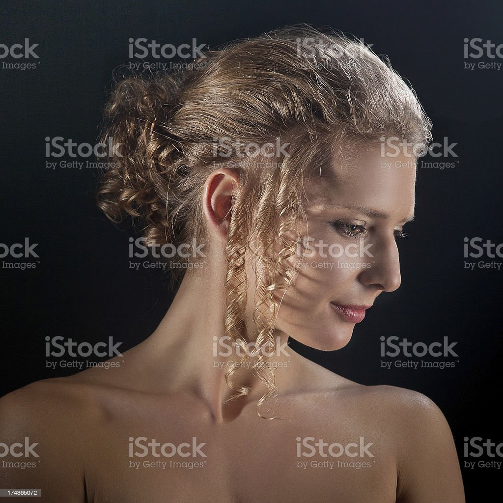 Portrait of a girl hairstyles royalty-free stock photo