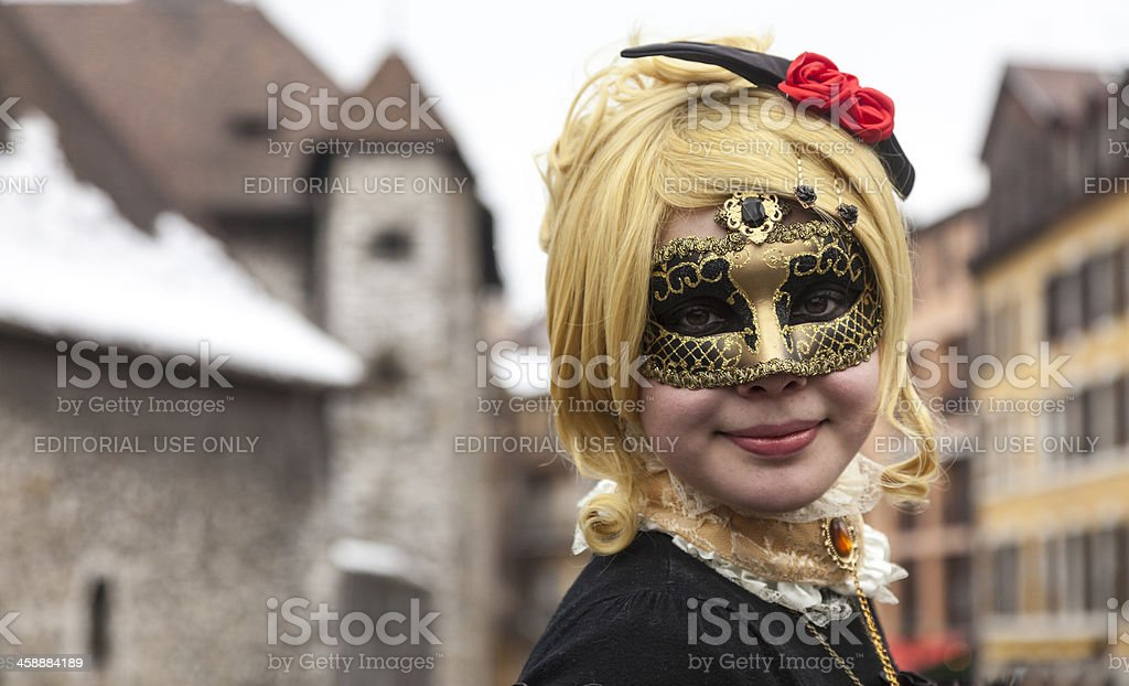 Portrait of a Girl in Mask royalty-free stock photo