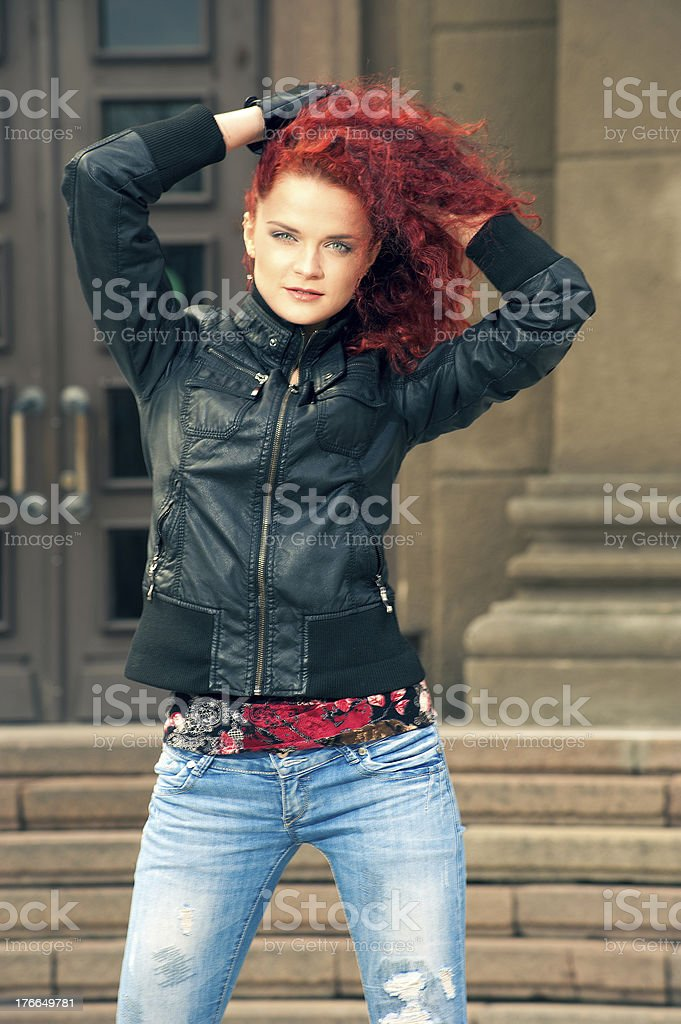 Portrait of a girl in summer town royalty-free stock photo