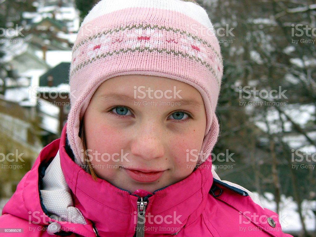Portrait of a girl in winter hat royalty-free stock photo