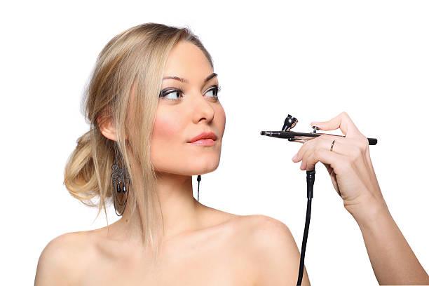 portrait of a girl model with hand airbrush - airbrush make up stock-fotos und bilder