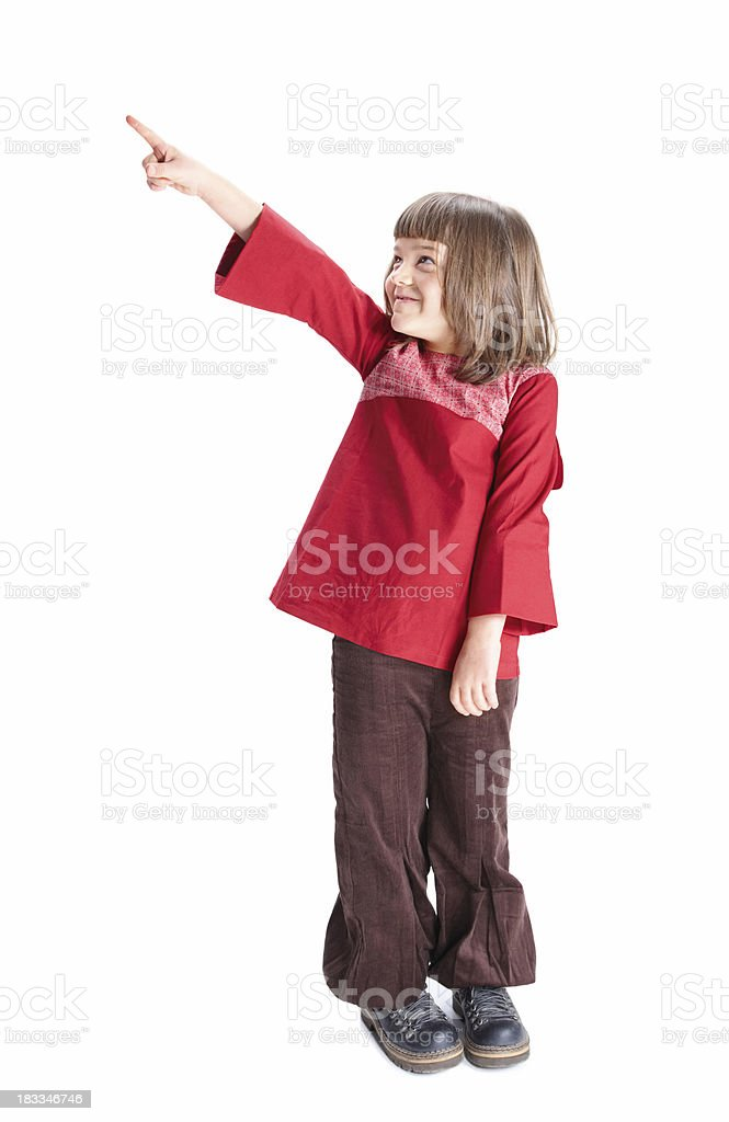 Portrait of a girl on white, pointing to the side royalty-free stock photo