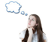 portrait of a girl thinking with a cloud isolated