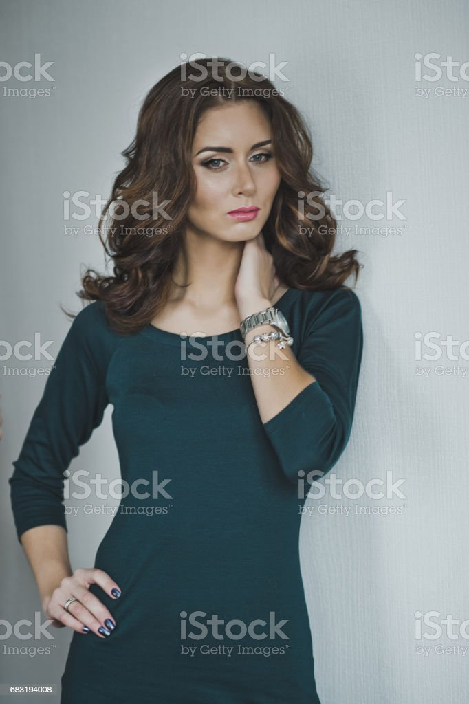 Portrait of a girl with curly hair 4963. royalty-free 스톡 사진