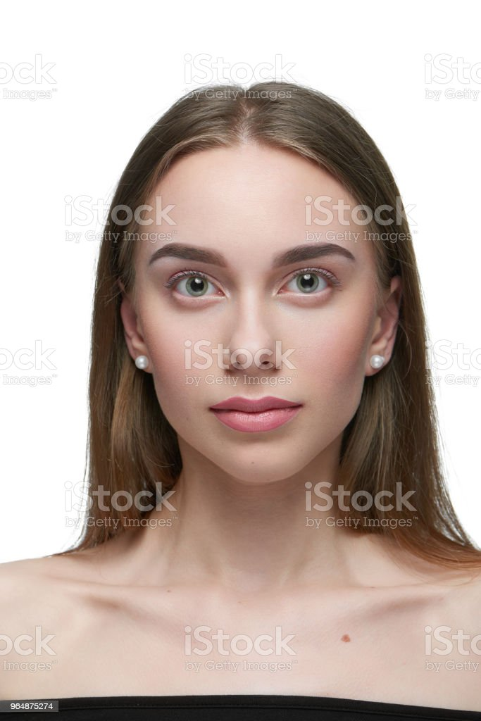 Portrait of a girl with light day make up looking at camera. royalty-free stock photo