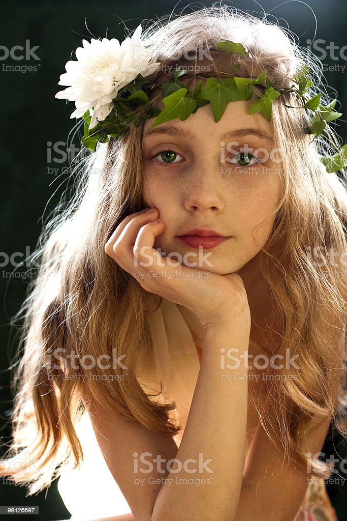 portrait of a girl with long hair royalty-free stock photo