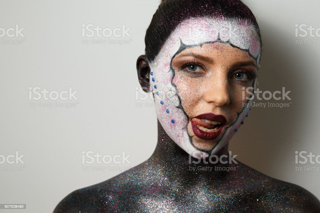 Portrait Of A Girl With Makeup Body Art Face Art Drawing