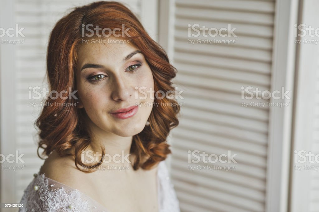 Portrait of a girl with red hair on the background of blinds 6896. photo libre de droits