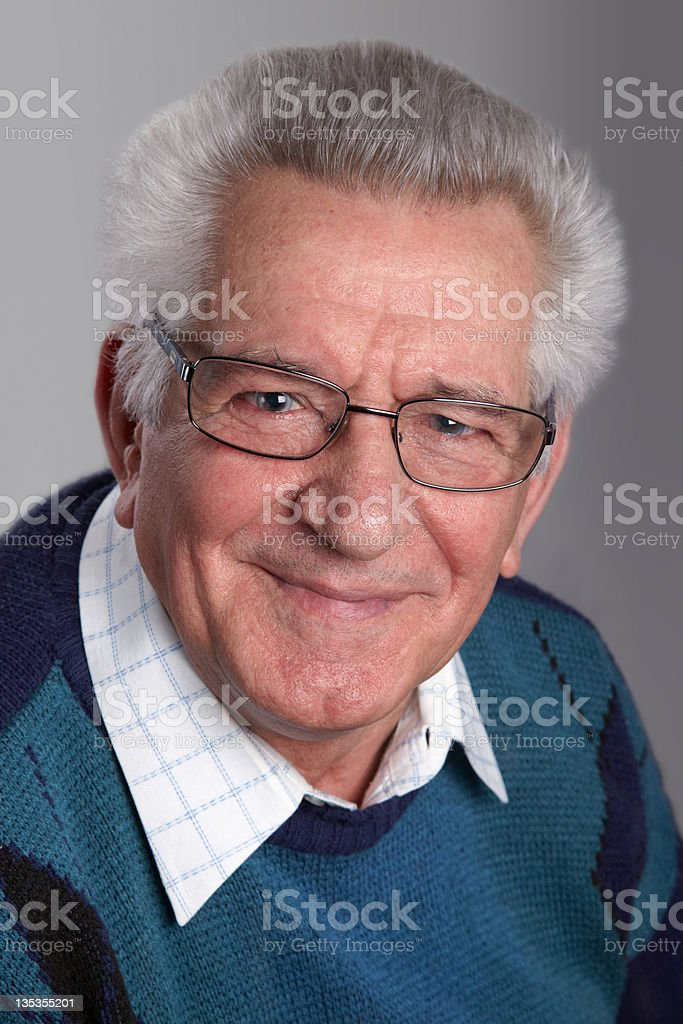 Portrait of a grandfather stock photo