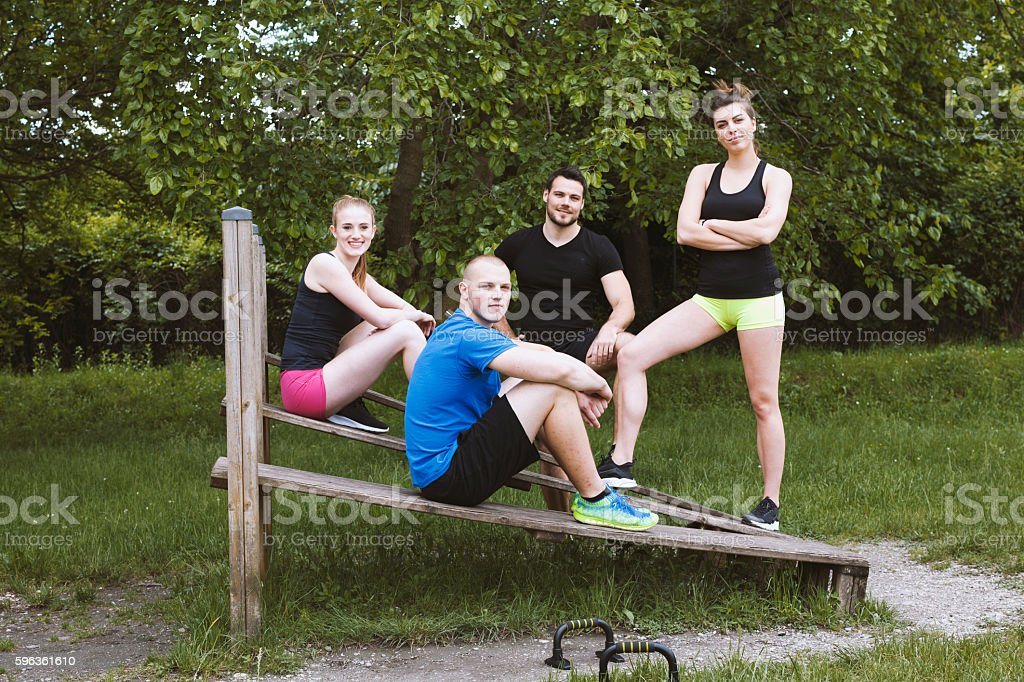 Portrait of a Group of Young Athletes Outdoors Horizontal royalty-free stock photo