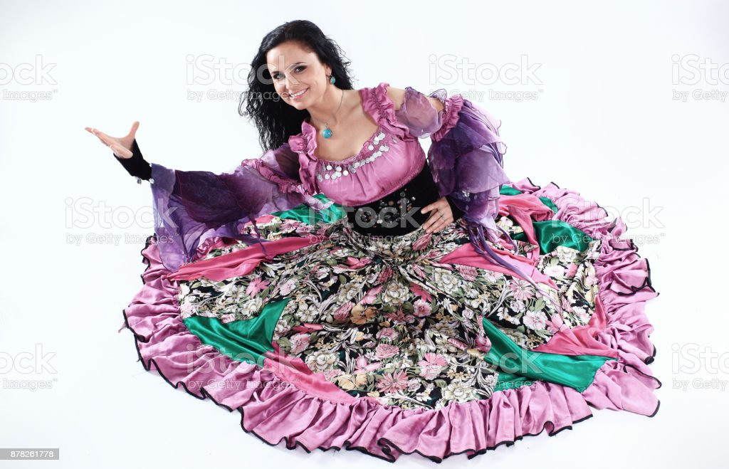 portrait of a Gypsy dancer in national costume stock photo