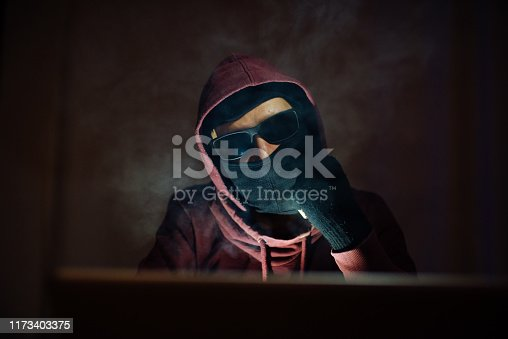Computer Spy with Hooded Sweatshirt and Sunglasses, Smoking a Cigarette and Using his Laptop. Security System and Internet Crime Concept.