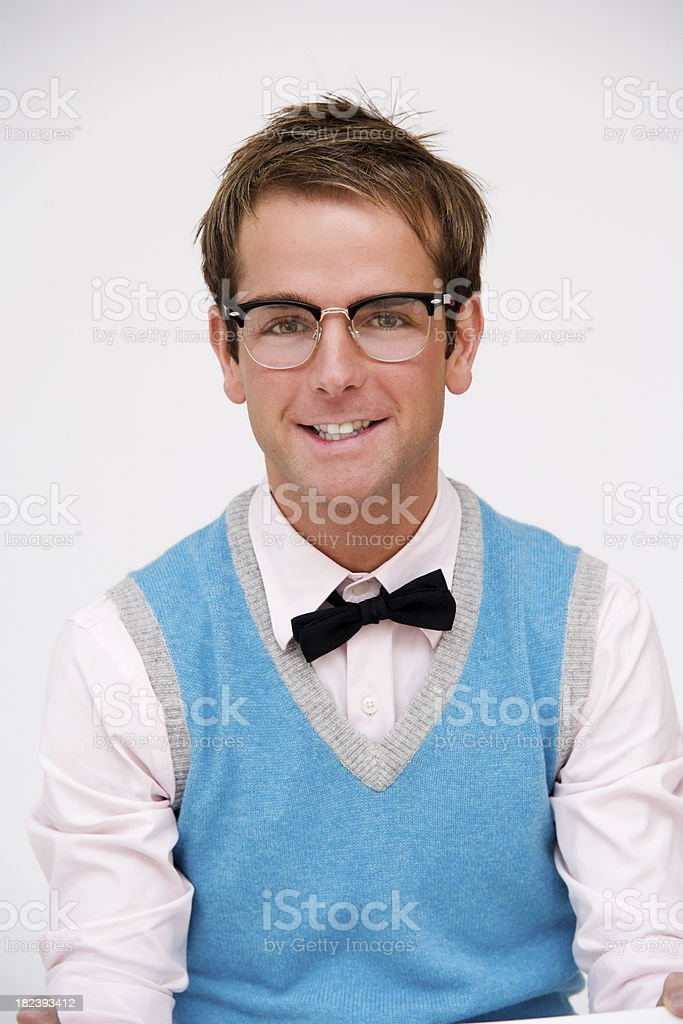 Portrait of a Handsome Computer Geek or Nerd stock photo