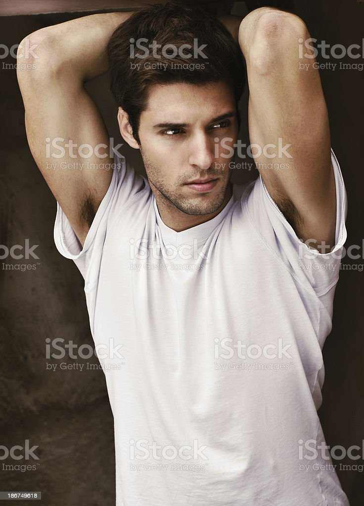 Portrait of a handsome male model stock photo