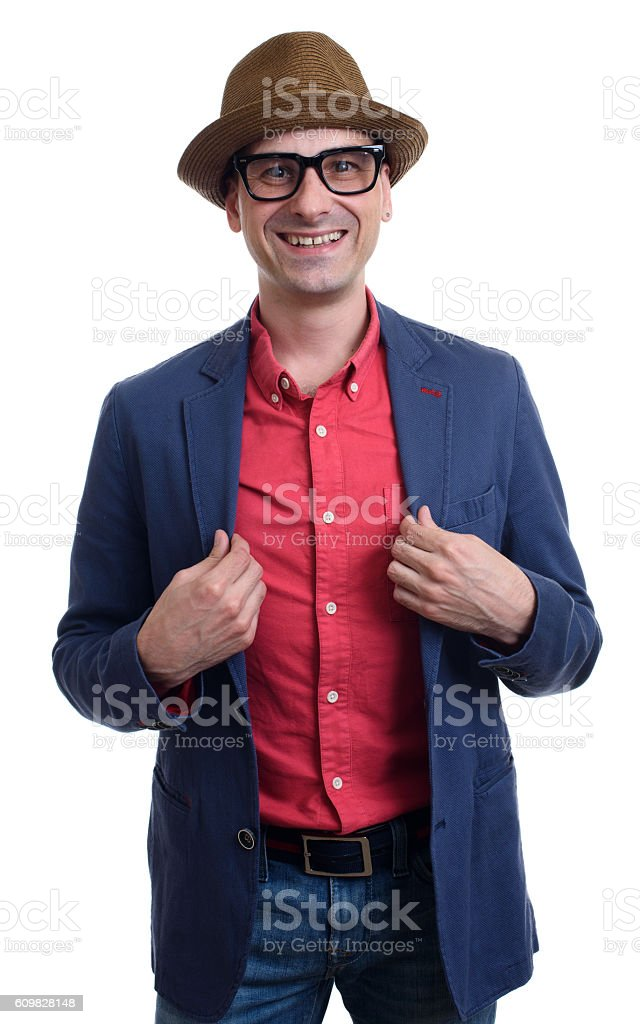 portrait of a handsome man in fashionable clothing stock photo