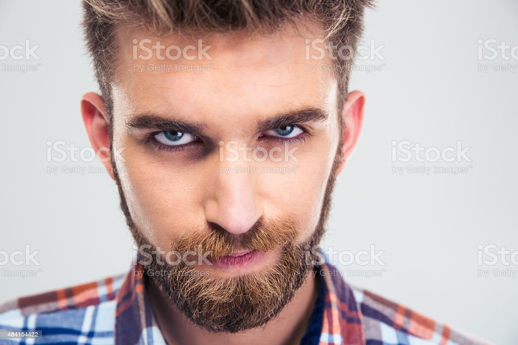 Portrait of a handsome man looking at camera stock photo