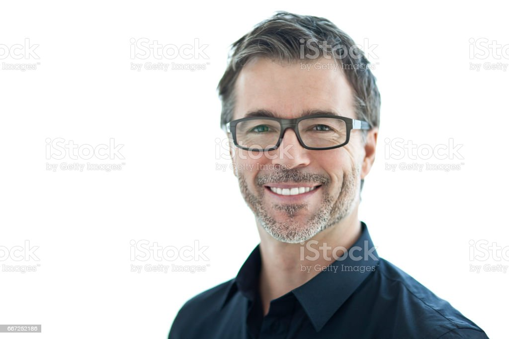 Portrait Of A Handsome Man Smiling At The Camera. Isolated On White. With Glasses. stock photo