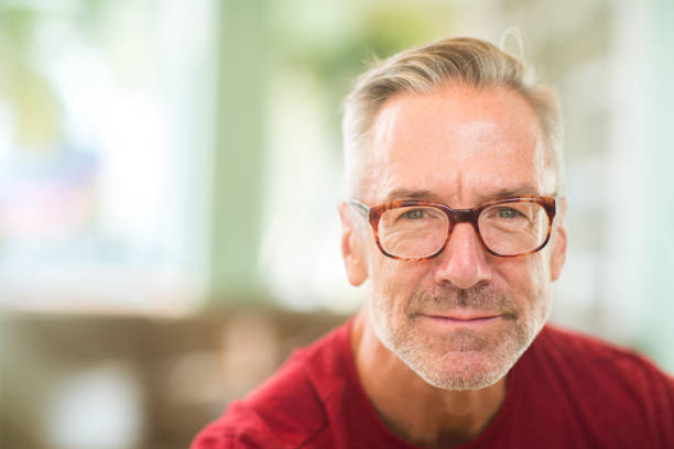 Portrait of a handsome mature man stock photo