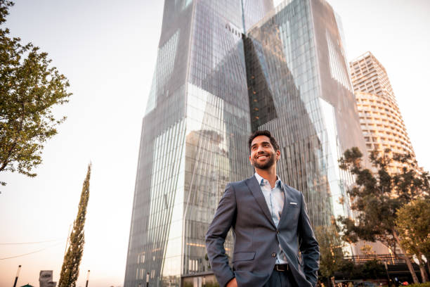 Portrait of a handsome smiling businessman stock photo