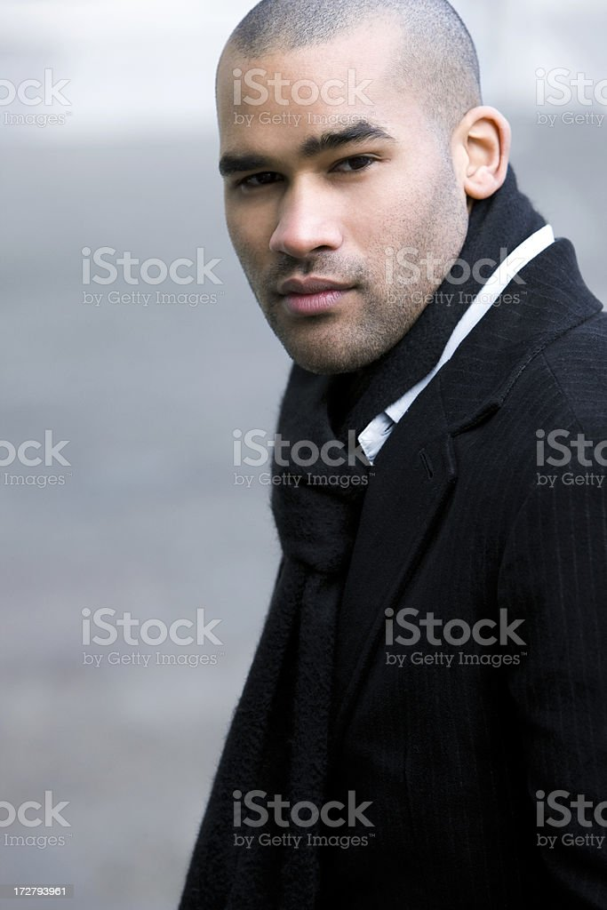 African American Young Man Fashion Model Portrait, Copy Space royalty-free stock photo