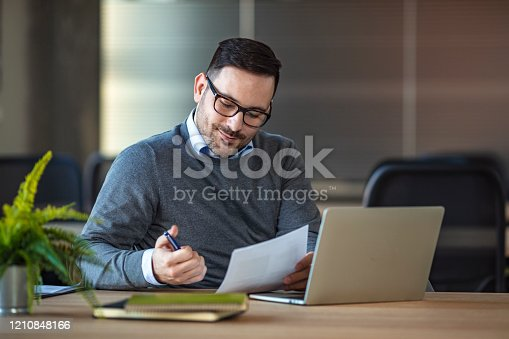 913346608 istock photo Portrait of a handsome young businessman working in an office. 1210848166