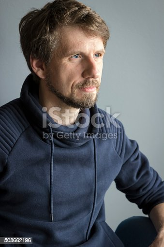 istock Portrait of a handsome young man against gray background 508662196