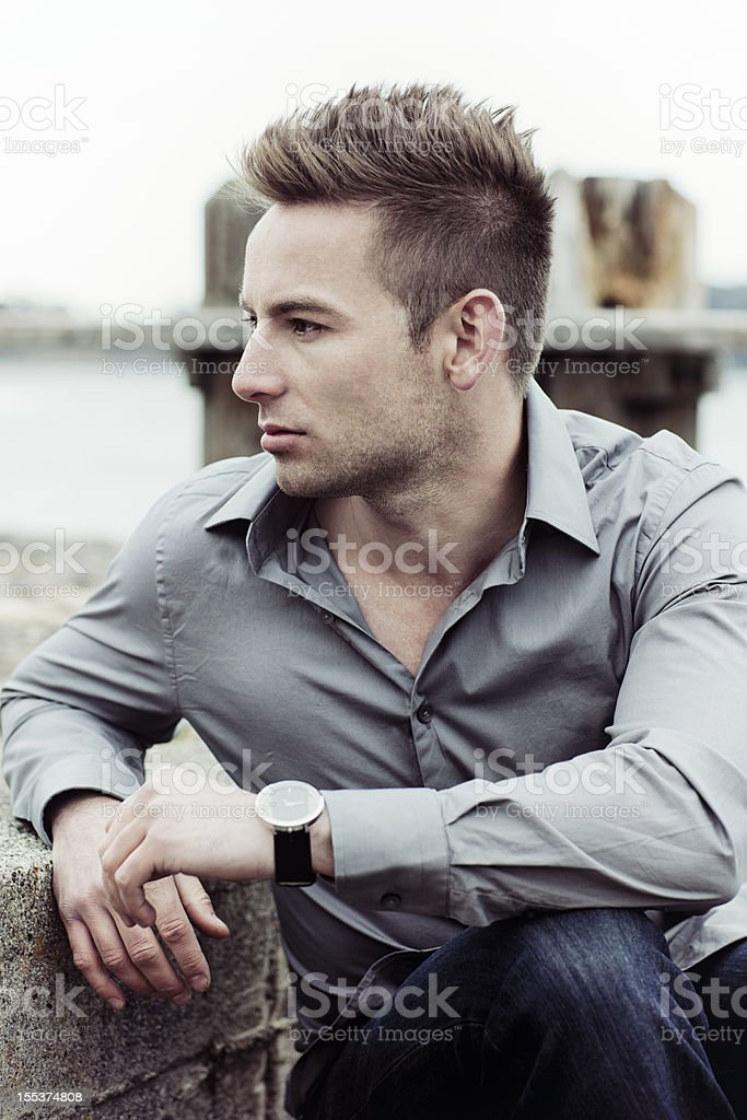 Portrait of a handsome young man outdoors royalty-free stock photo