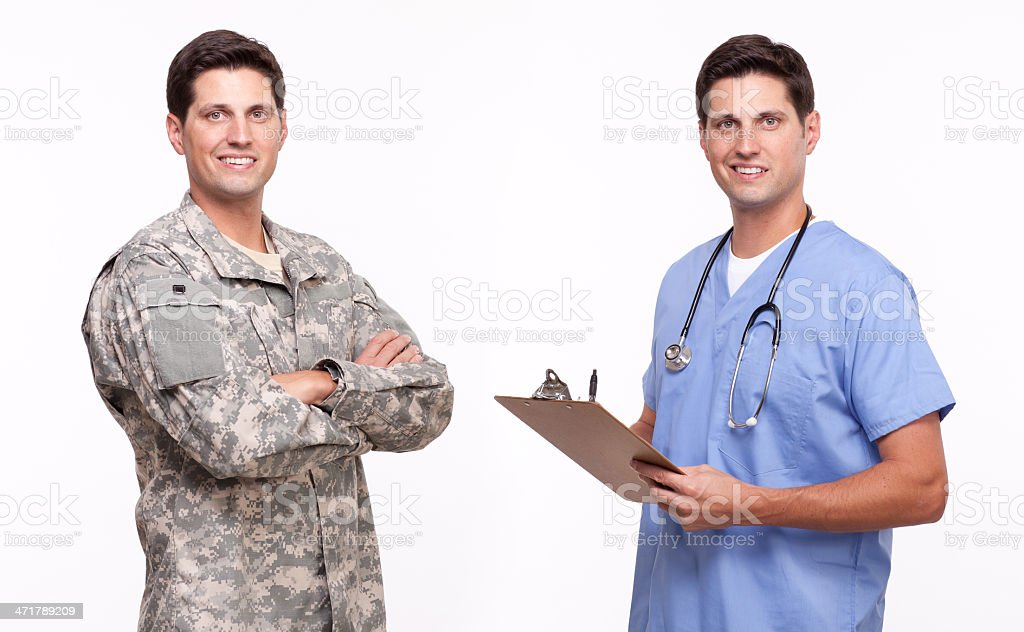 Portrait of a handsome young soldier and male nurse posing stock photo
