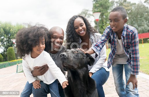 istock Portrait of a happy African American family adopting a dog 869160674