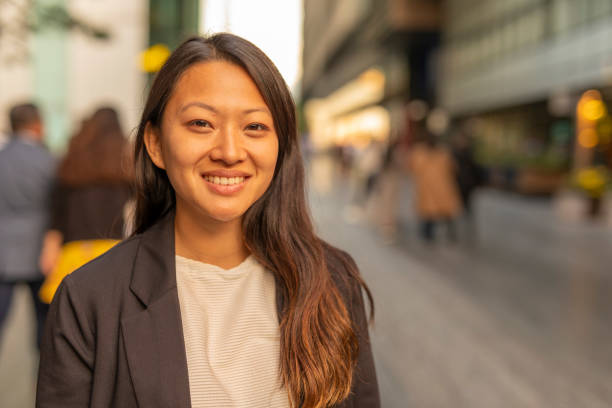 Portrait of a Happy Asian Business Woman in London stock photo