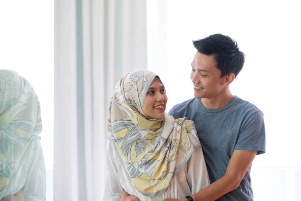 Portrait of a happy Asian couple stock photo