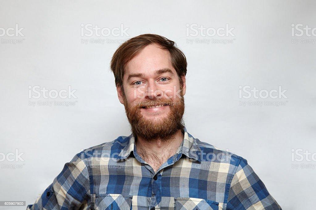 Portrait of a happy bearded man – Foto