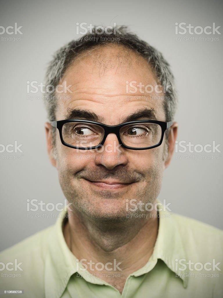 Portrait of a happy caucasian real man stock photo