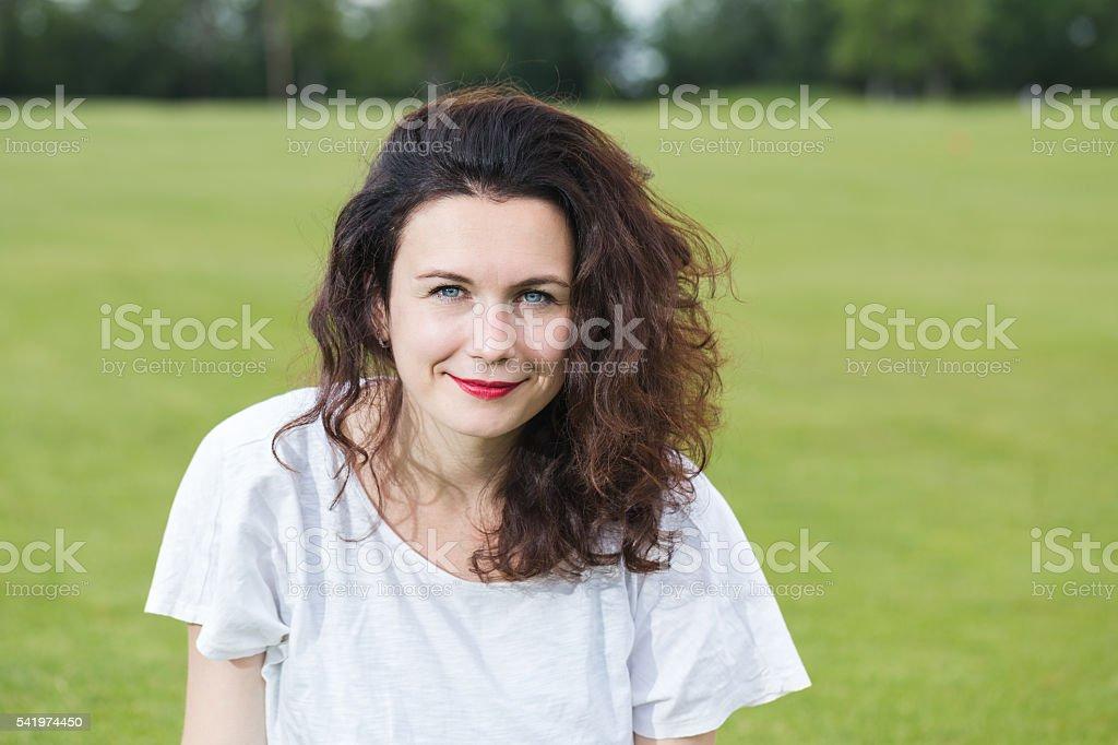 Portrait of a happy girl. stock photo