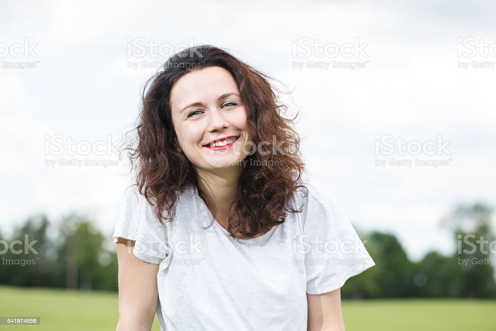 Portrait of a happy girl. stock photo