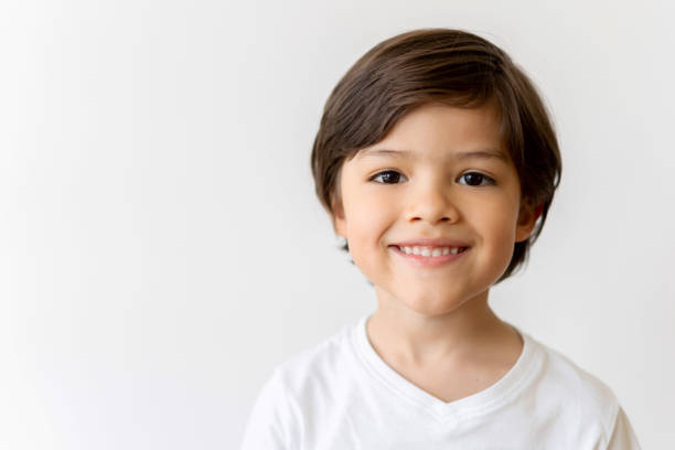 Portrait of a happy Latin American boy smiling stock photo