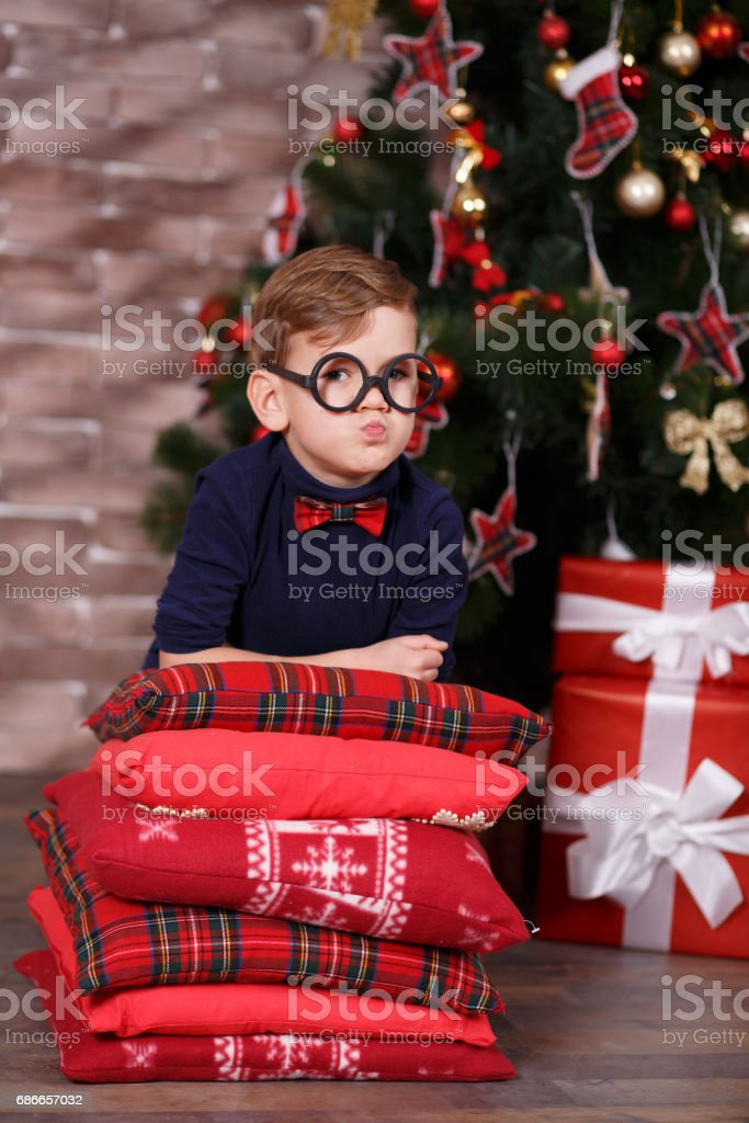 Portrait of a happy little boy in christmas time royalty-free stock photo