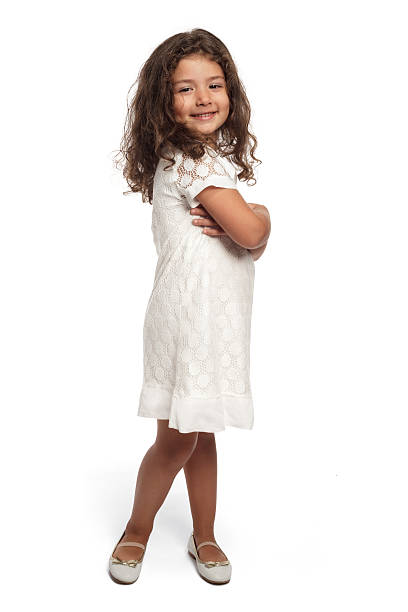 portrait of a happy little girl on white background - arabic girl stock photos and pictures
