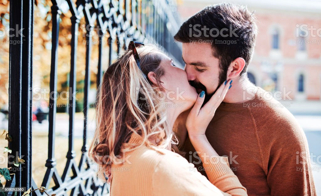 Portrait of a happy loving couple. Love, dating, romance stock photo