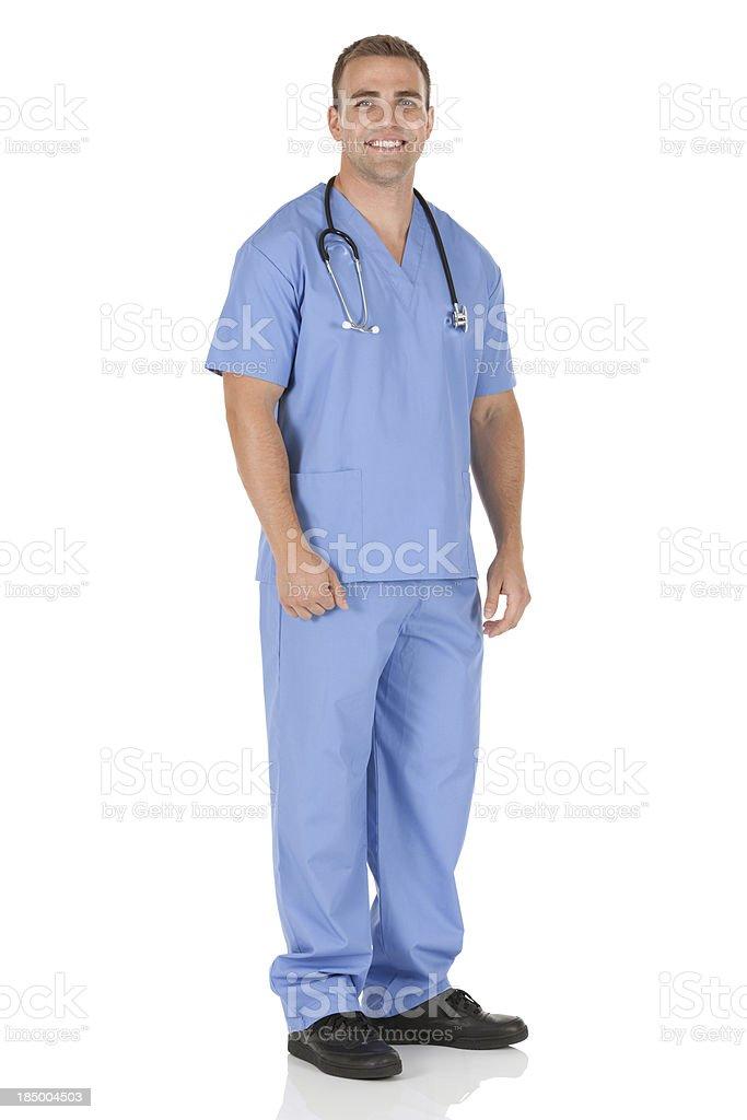 Portrait of a happy male nurse stock photo