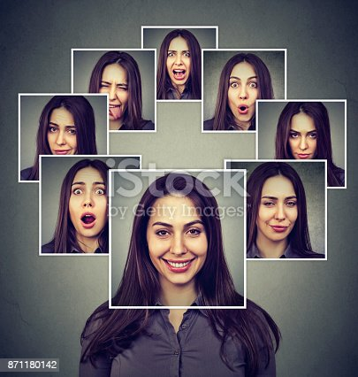 istock Portrait of a happy masked woman expressing different emotions 871180142