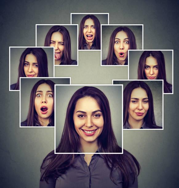 Retrato de una mujer enmascarada feliz expresando diferentes emociones - foto de stock