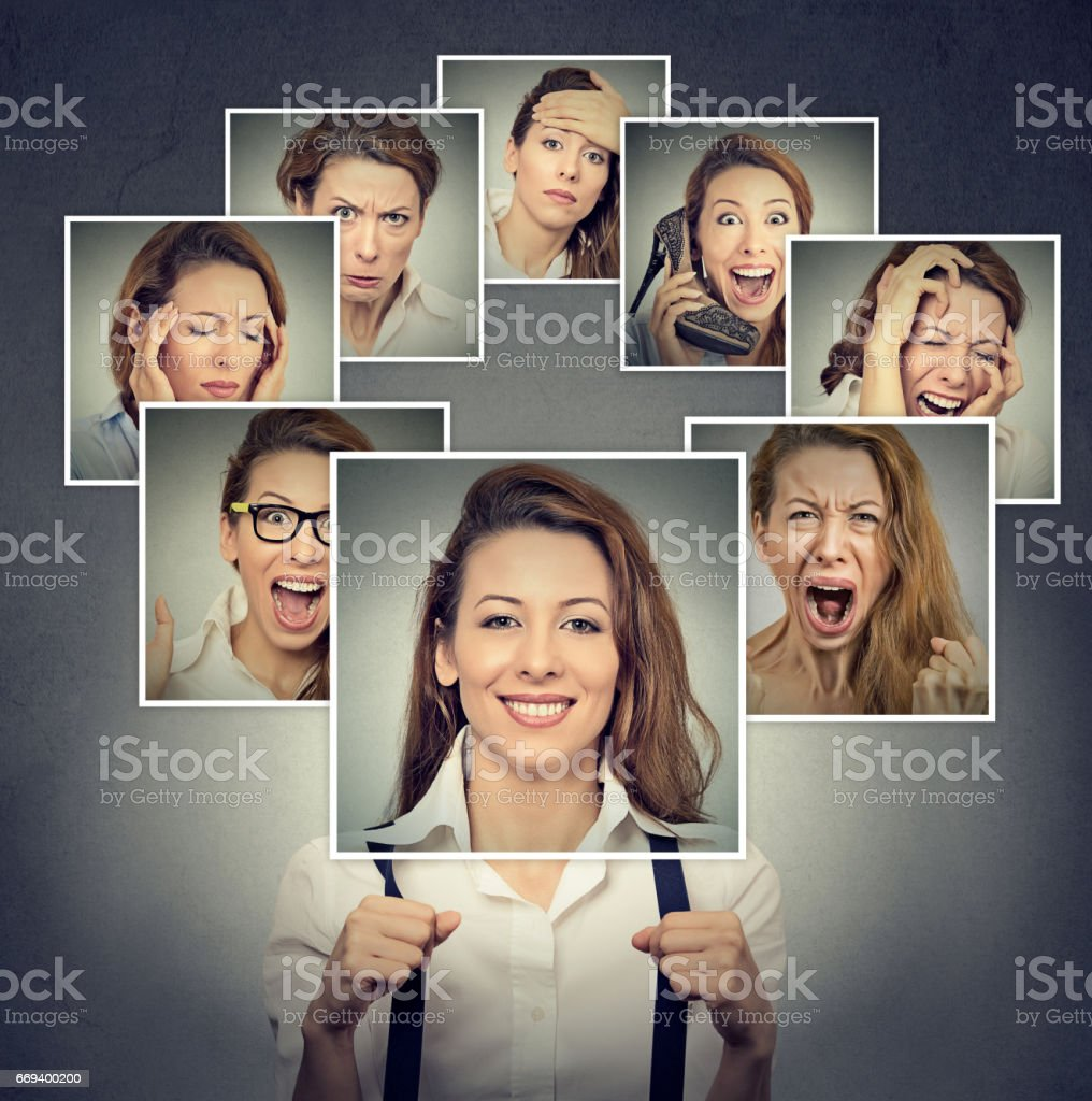 Portrait of a happy masked woman stock photo